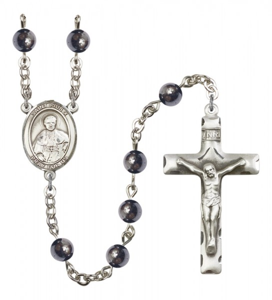 Men's St. Pius X Silver Plated Rosary - Gray