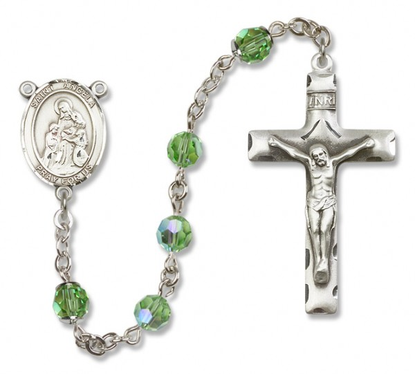 St. Angela Merici Sterling Silver Heirloom Rosary Squared Crucifix - Peridot