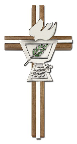 "Confirmation Chalice and Dove Wall Cross in Walnut Wood with Metal Inlay 6"" - Silver tone"