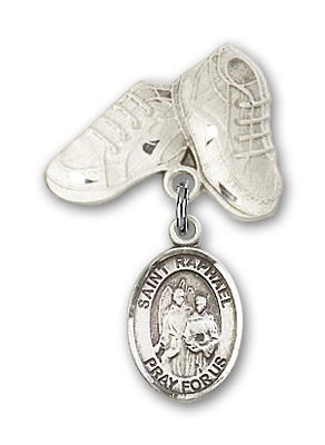 Pin Badge with St. Raphael the Archangel Charm and Baby Boots Pin - Silver tone