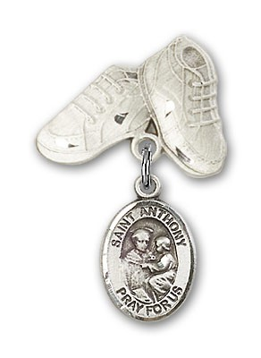 Pin Badge with St. Anthony of Padua Charm and Baby Boots Pin - Silver tone