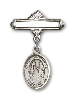 Pin Badge with St. Genevieve Charm and Polished Engravable Badge Pin - Silver tone