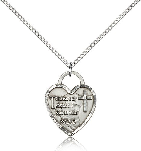 The Lord is My Shepherd Heart Pendant - Sterling Silver