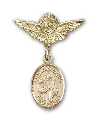 Pin Badge with St. Januarius Charm and Angel with Smaller Wings Badge Pin - 14K Yellow Gold
