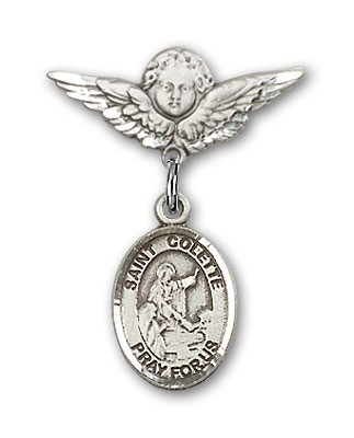 Pin Badge with St. Colette Charm and Angel with Smaller Wings Badge Pin - Silver tone