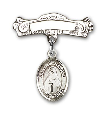 Pin Badge with St. Hildegard Von Bingen Charm and Arched Polished Engravable Badge Pin - Silver tone