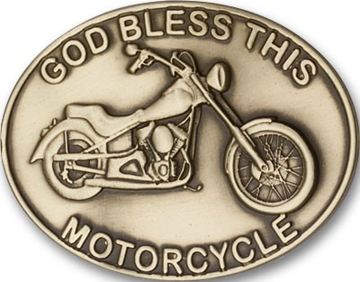 God Bless This Motorcycle Visor Clip - Antique Gold