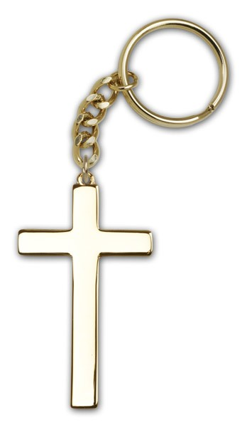 Cross Keychain - Antique Gold