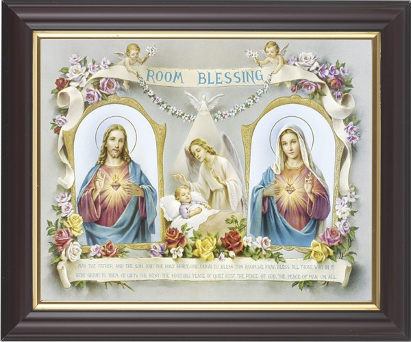 Room Blessing Framed Print with Sacred Heart and Immaculate Heart - #133 Frame
