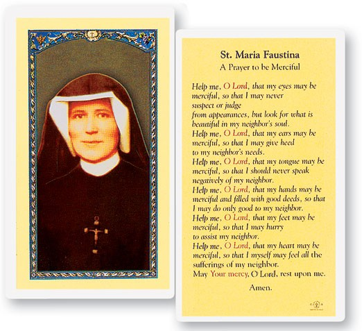 Prayer To St. Maria Faustina Laminated Prayer Cards 25 Pack - Full Color