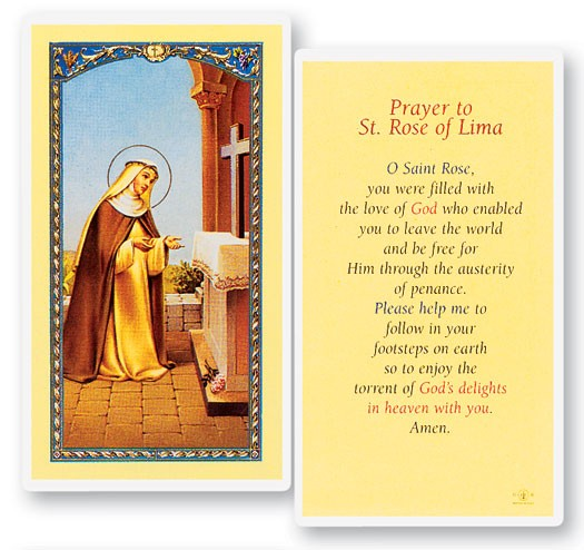 Prayer To St. Rose of Lima Laminated Prayer Cards 25 Pack - Full Color