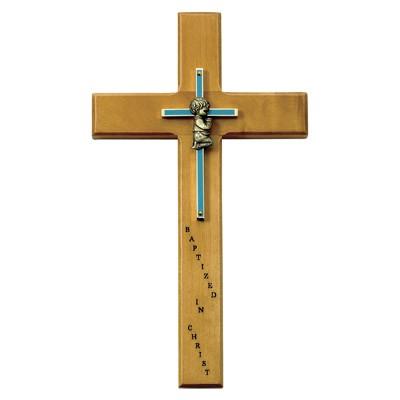 Baby Boy Baptism Wall Cross - 10 inch - Brown