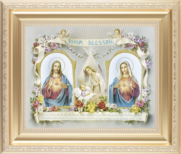 Room Blessing Framed Print with Sacred Heart and Immaculate Heart - #138 Frame