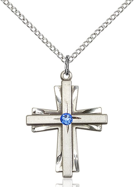 Women's Cross on Cross Pendant with Birthstone Options - Sapphire