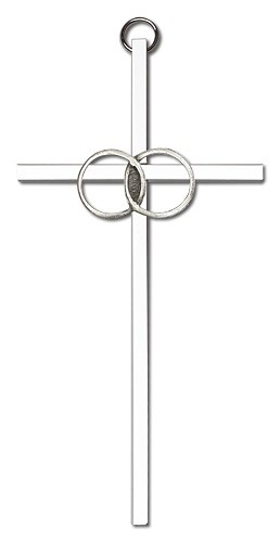 "Wedding Rings Cross 6"" - Silver tone"