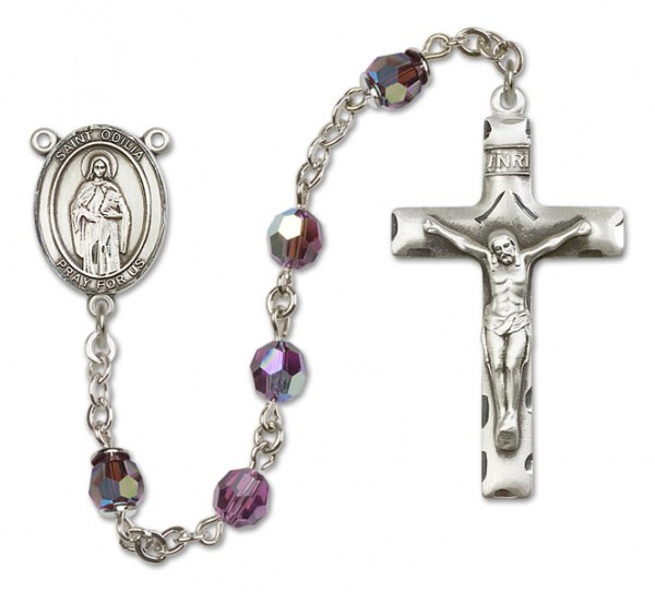 St. Odilia Sterling Silver Heirloom Rosary Squared Crucifix - Amethyst