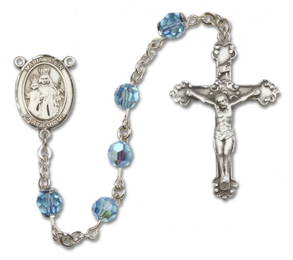 Maria Stein Sterling Silver Heirloom Rosary Squared Crucifix - Aqua