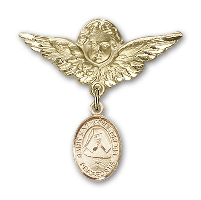 Pin Badge with St. Katherine Drexel Charm and Angel with Larger Wings Badge Pin - 14K Solid Gold