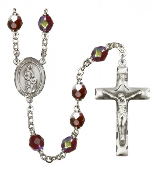 Men's St. Anne Silver Plated Rosary - Garnet