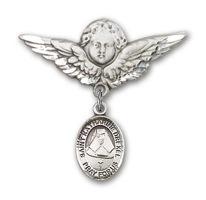 Pin Badge with St. Katherine Drexel Charm and Angel with Larger Wings Badge Pin - Silver tone
