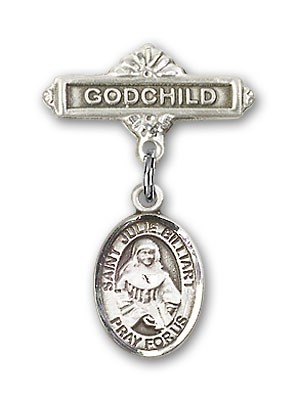 Pin Badge with St. Julie Billiart Charm and Godchild Badge Pin - Silver tone