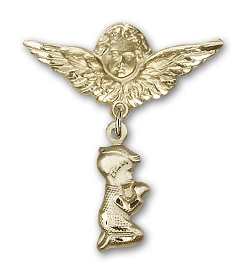 Baby Pin with Praying Boy Charm and Angel with Larger Wings Badge Pin - 14K Solid Gold