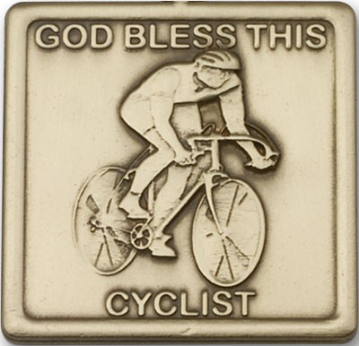 God Bless This Cyclist Visor Clip - Antique Gold