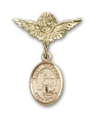 Pin Badge with St. Germaine Cousin Charm and Angel with Smaller Wings Badge Pin - 14K Yellow Gold