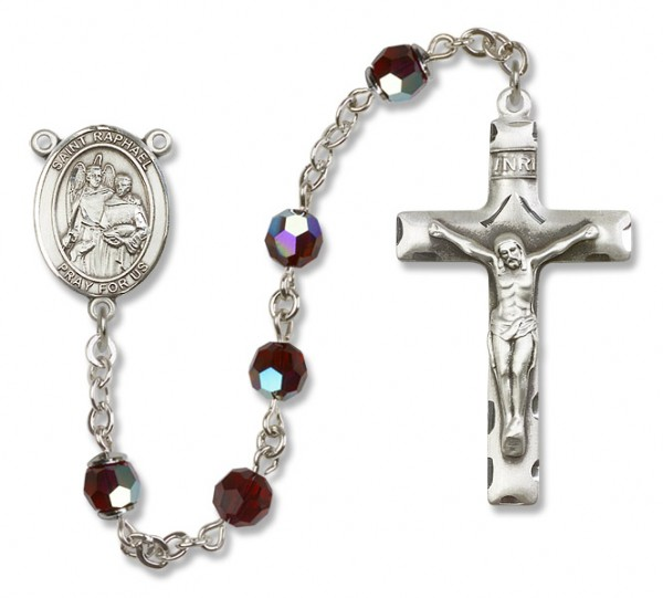St. Raphael the Archangel Sterling Silver Heirloom Rosary Squared Crucifix - Garnet