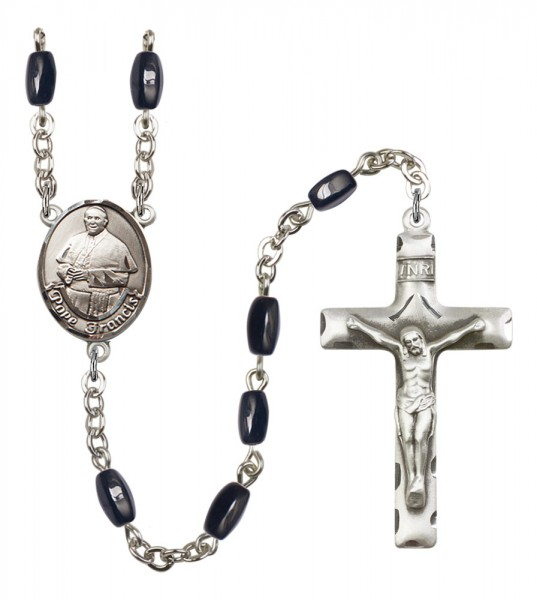 Men's Pope Francis Silver Plated Rosary - Black | Silver