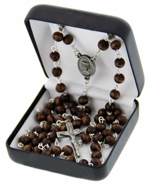 First Communion Brown Wood Rosary with Chalice Centerpiece - Brown | Silver