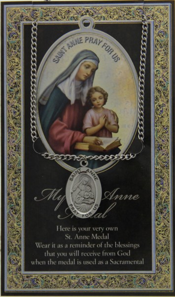 St. Anne Medal in Pewter with Bi-Fold Prayer Card - Silver tone