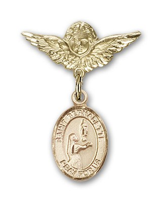Pin Badge with St. Bernadette Charm and Angel with Smaller Wings Badge Pin - 14K Solid Gold