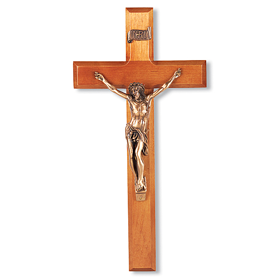 Natural Cherry Wall Crucifix - 12 inch - Brown
