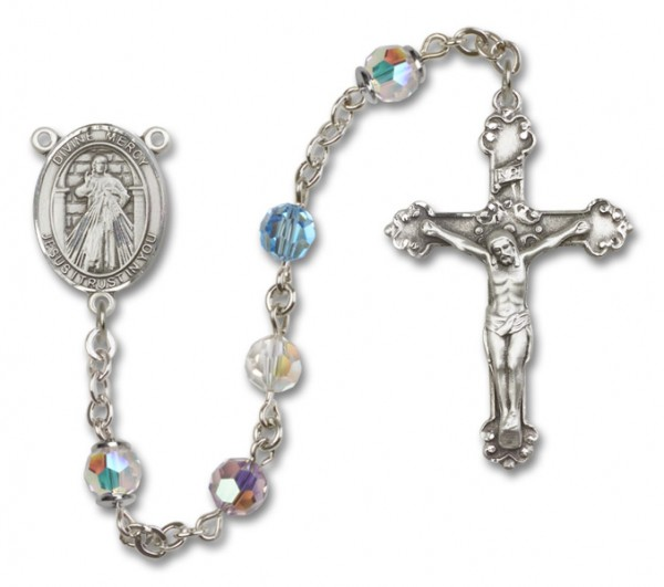 Divine Mercy Sterling Silver Heirloom Rosary Fancy Crucifix - Multi-Color