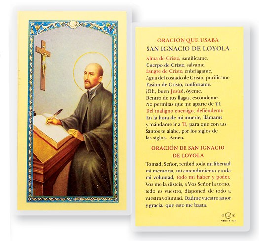Oracion De San Ignacio Loyola Laminated Spanish Prayer Cards 25 Pack - Full Color