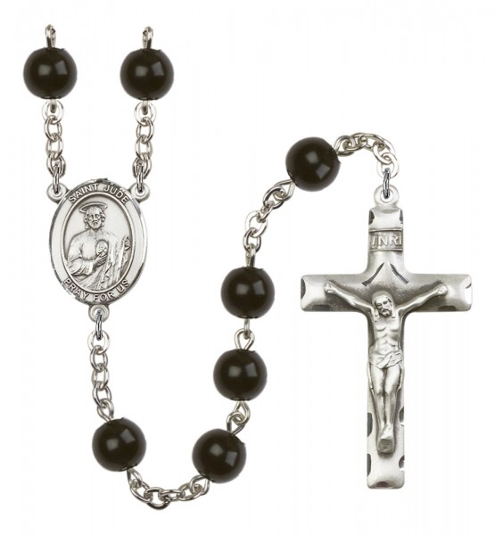 Men's St. Jude Thaddeus Silver Plated Rosary - Black