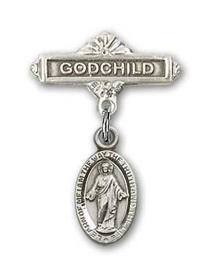 Baby Badge with Scapular Charm and Godchild Badge Pin - Silver tone
