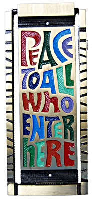 Peace To All Who Enter Here Door Knocker - Multi-Color
