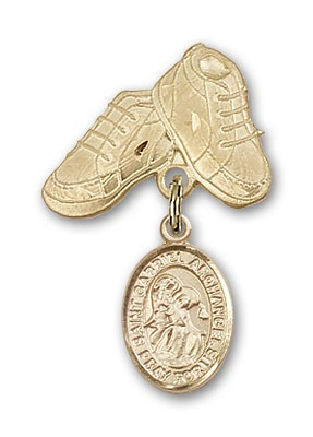 Pin Badge with St. Gabriel the Archangel Charm and Baby Boots Pin - 14K Yellow Gold