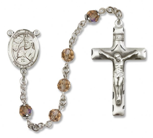 St. Edwin Sterling Silver Heirloom Rosary Squared Crucifix - Topaz