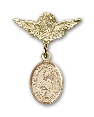 Pin Badge with St. Malachy O'More Charm and Angel with Smaller Wings Badge Pin - 14K Solid Gold