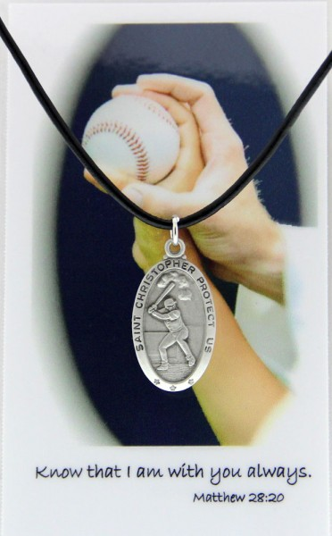 Boy's St. Christopher Baseball Medal with Leather Chain and Prayer Card - Silver tone