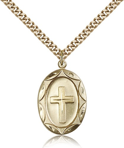 Open Cut Cross Necklace - 14KT Gold Filled