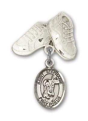 Pin Badge with St. Stephanie Charm and Baby Boots Pin - Silver tone