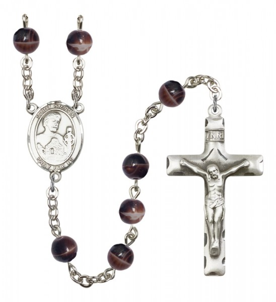 Men's St. Kieran Silver Plated Rosary - Brown
