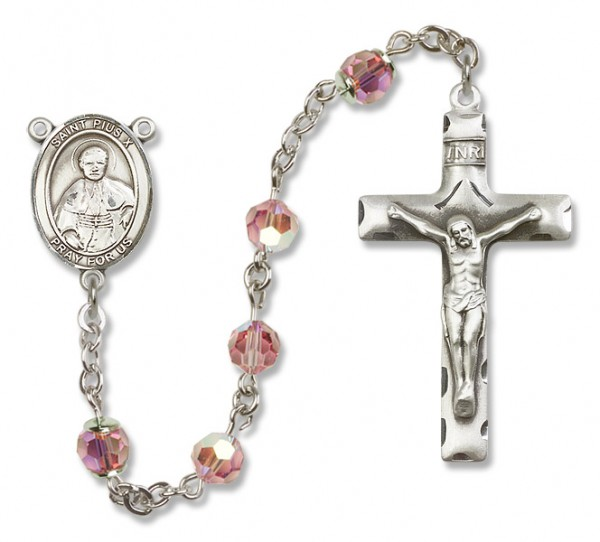 St. Pius X Sterling Silver Heirloom Rosary Squared Crucifix - Light Rose