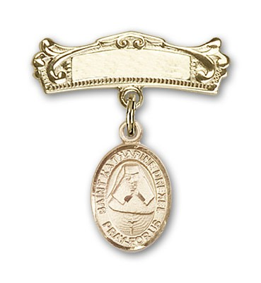 Pin Badge with St. Katherine Drexel Charm and Arched Polished Engravable Badge Pin - 14K Yellow Gold