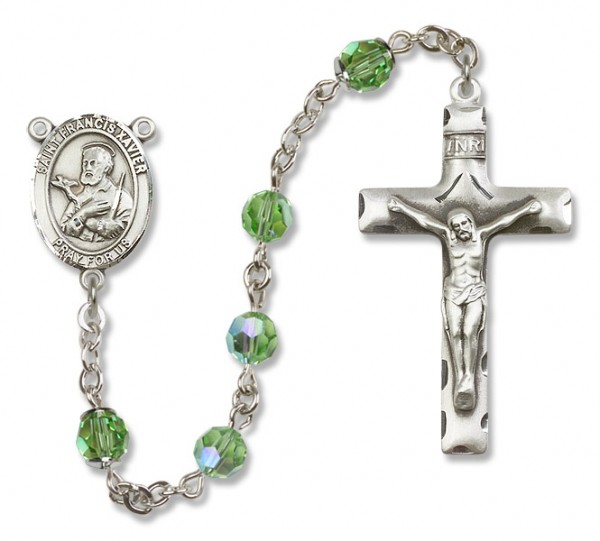 St. Francis Xavier Sterling Silver Heirloom Rosary Squared Crucifix - Peridot
