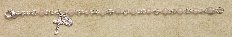 Rosary Bracelet - Sterling Silver with Rose Quartz Beads - Rose